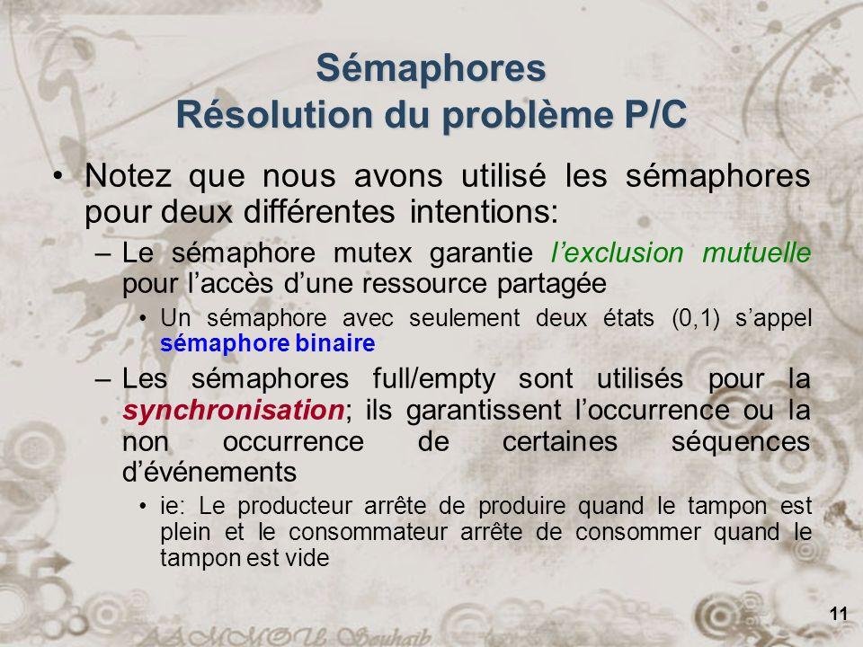11 Sémaphores Résolution du problème P/C Notez que nous avons utilisé les sémaphores pour deux différentes intentions: –Le sémaphore mutex garantie le