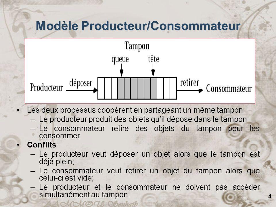 4 Modèle Producteur/Consommateur Consommateur Producteur Tampon de taille Les deux processus coopèrent en partageant un même tampon –Le producteur pro