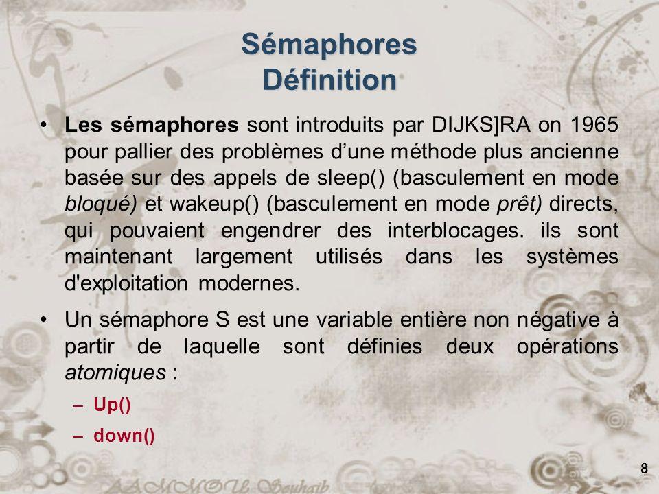 9 Sémaphores Opérations Un sémaphore possède la valeur 0 si aucun réveil nà été mémorisé, et une valeur positive sil y a un ou plusieurs réveils en attente.