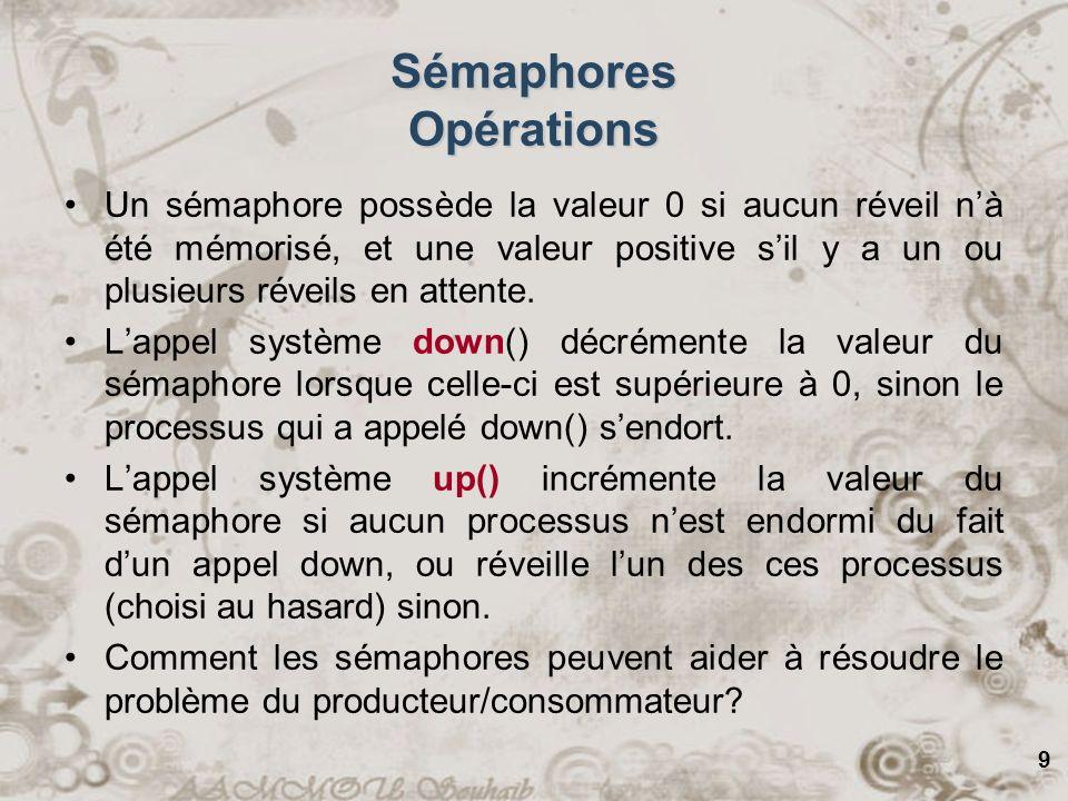 9 Sémaphores Opérations Un sémaphore possède la valeur 0 si aucun réveil nà été mémorisé, et une valeur positive sil y a un ou plusieurs réveils en at