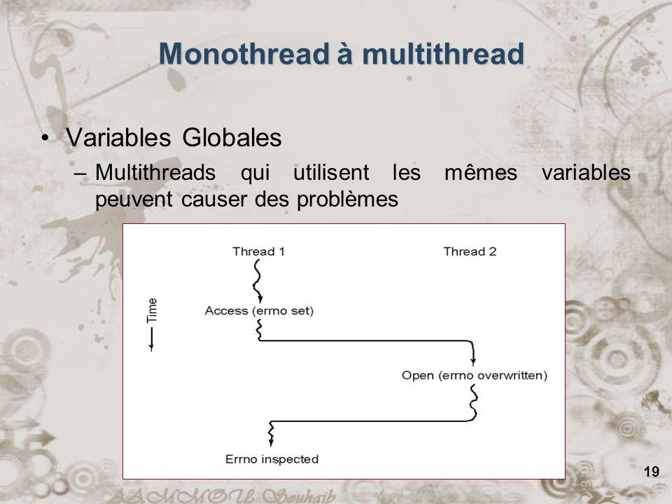 19 Monothread à multithread Variables Globales –Multithreads qui utilisent les mêmes variables peuvent causer des problèmes