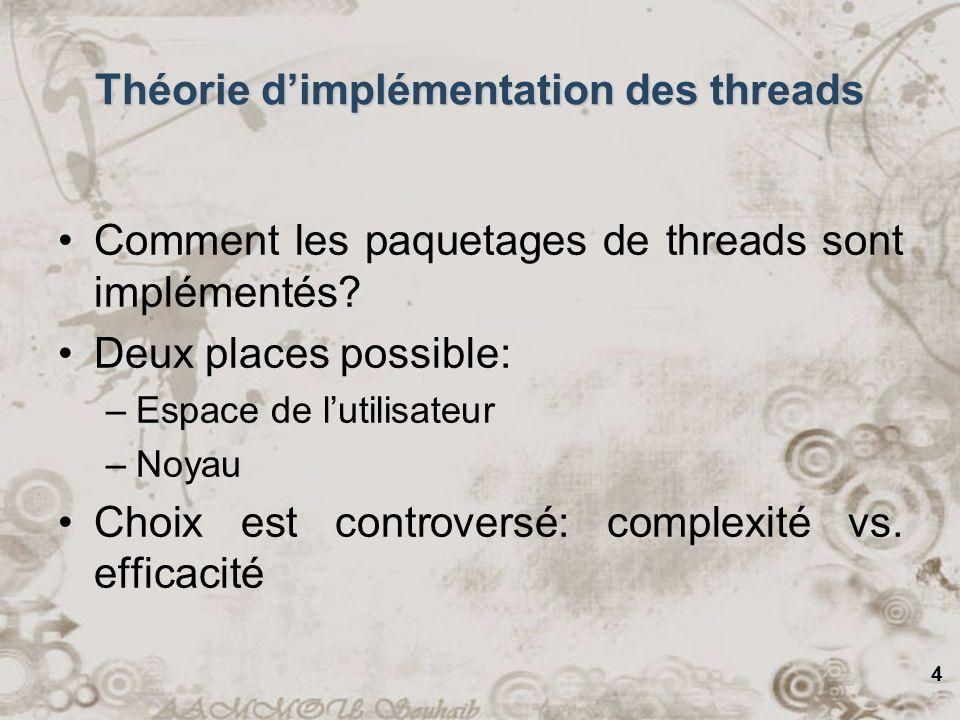 4 Comment les paquetages de threads sont implémentés? Deux places possible: –Espace de lutilisateur –Noyau Choix est controversé: complexité vs. effic