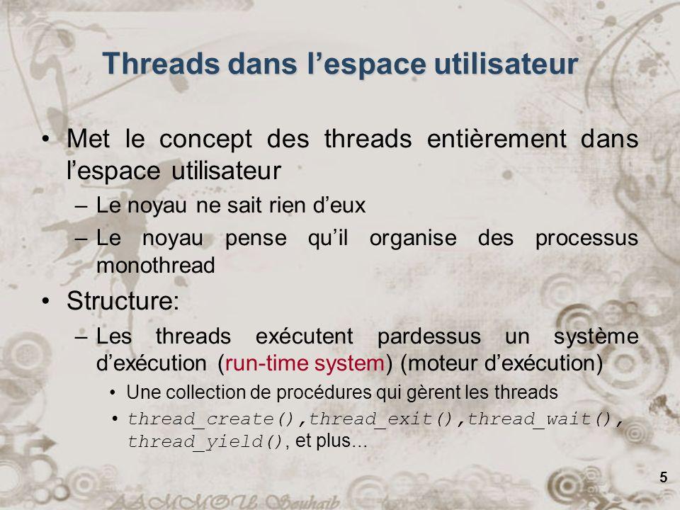 5 Threads dans lespace utilisateur Met le concept des threads entièrement dans lespace utilisateur –Le noyau ne sait rien deux –Le noyau pense quil or