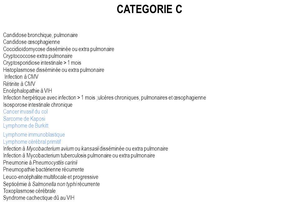 CATEGORIE C Candidose bronchique, pulmonaire Candidose œsophagienne Coccidioïdomycose disséminée ou extra pulmonaire Cryptococcose extra pulmonaire Cr