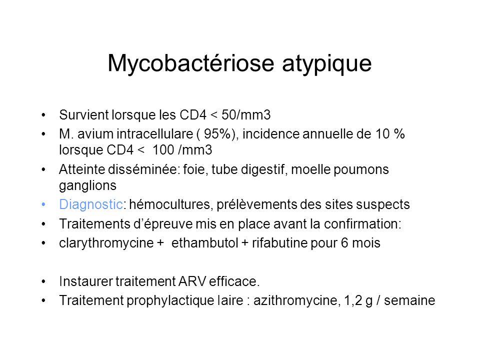 Mycobactériose atypique Survient lorsque les CD4 < 50/mm3 M. avium intracellulare ( 95%), incidence annuelle de 10 % lorsque CD4 < 100 /mm3 Atteinte d