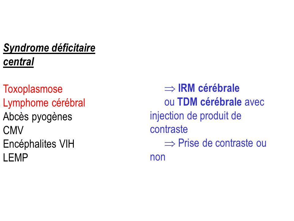Syndrome déficitaire central Toxoplasmose Lymphome cérébral Abcès pyogènes CMV Encéphalites VIH LEMP IRM cérébrale ou TDM cérébrale avec injection de