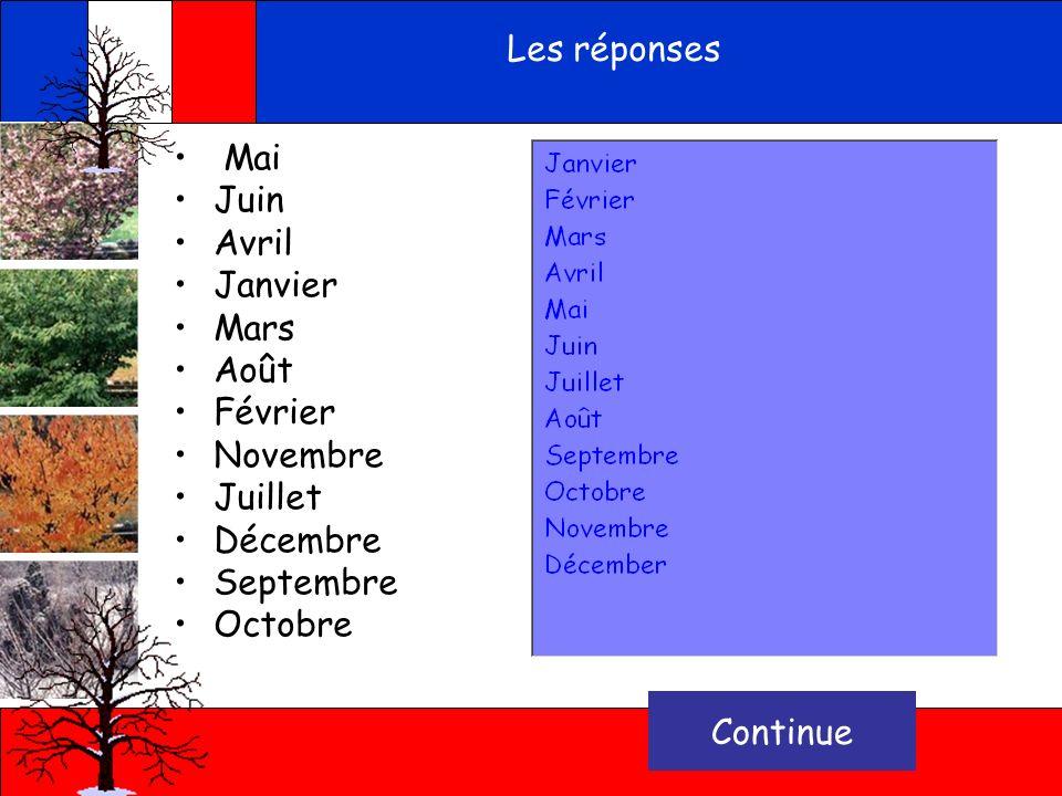 Put the months in the correct order Mai Juin Avril Janvier Mars Août Février Novembre Juillet Décembre Septembre Octobre vérifie