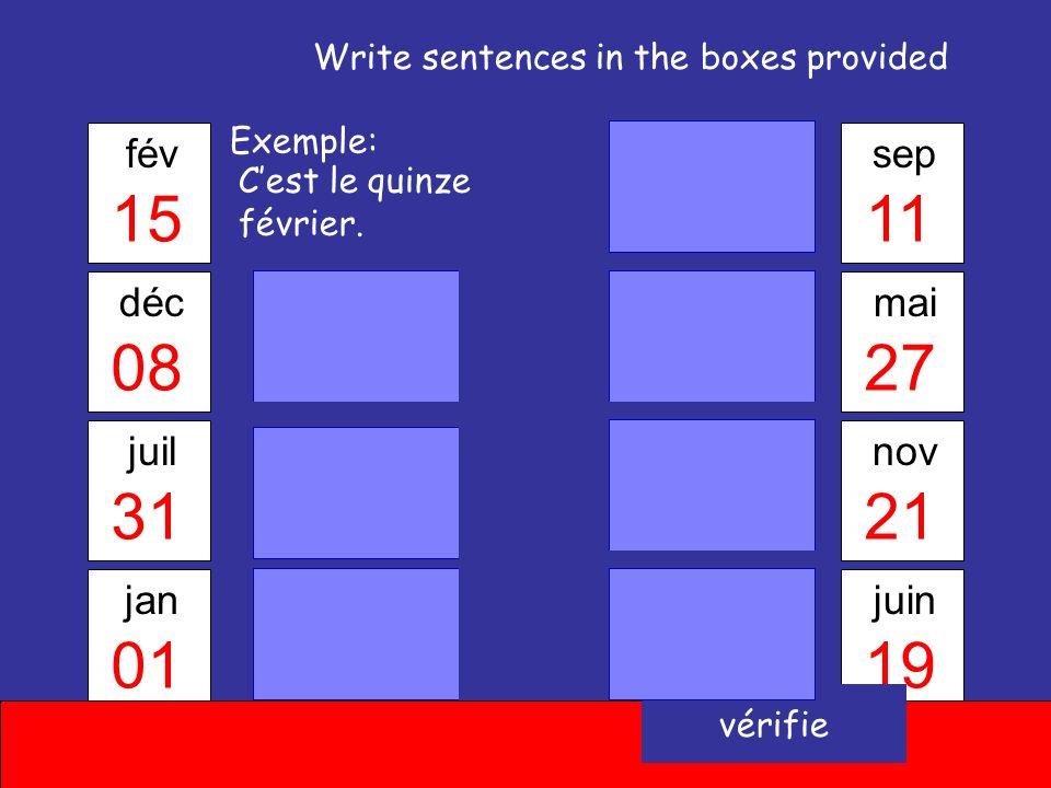 Les réponses Mai Juin Avril Janvier Mars Août Février Novembre Juillet Décembre Septembre Octobre Continue