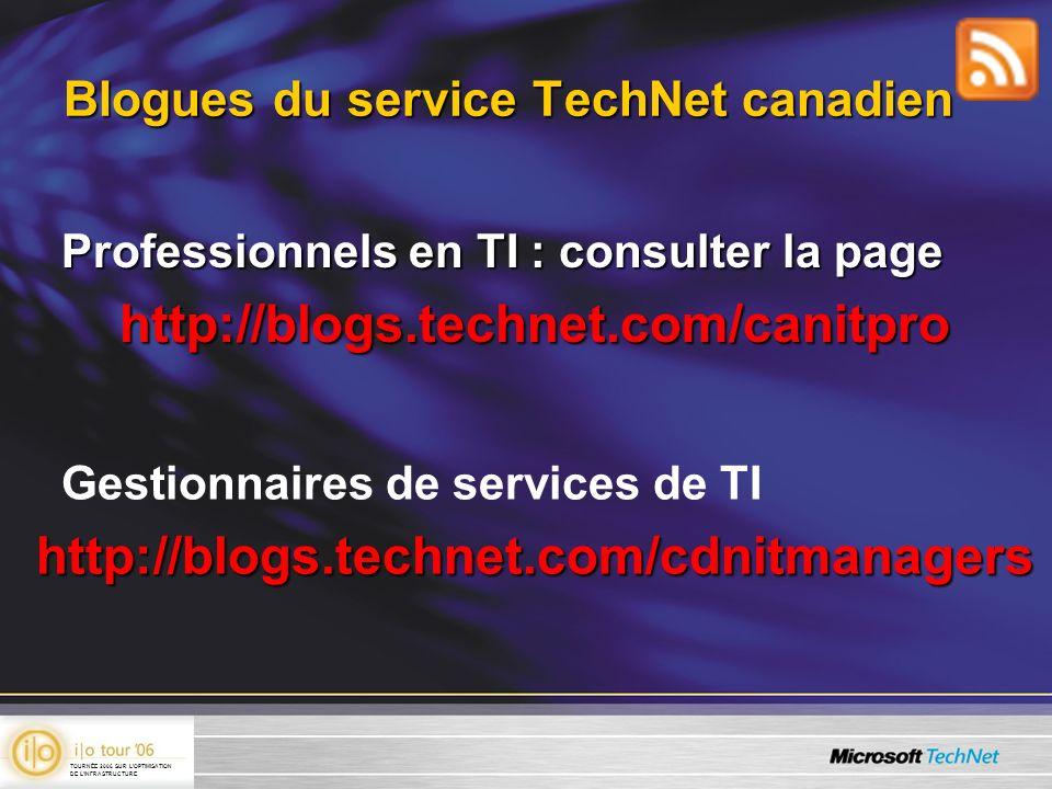 Blogues du service TechNet canadien Professionnels en TI : consulter la page http://blogs.technet.com/canitpro Gestionnaires de services de TIhttp://blogs.technet.com/cdnitmanagers TOURNÉE 2006 SUR LOPTIMISATION DE LINFRASTRUCTURE