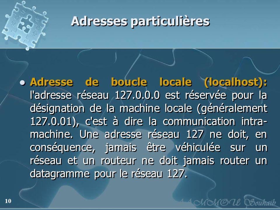 10 Adresses particulières Adresse de boucle locale (localhost): l'adresse réseau 127.0.0.0 est réservée pour la désignation de la machine locale (géné