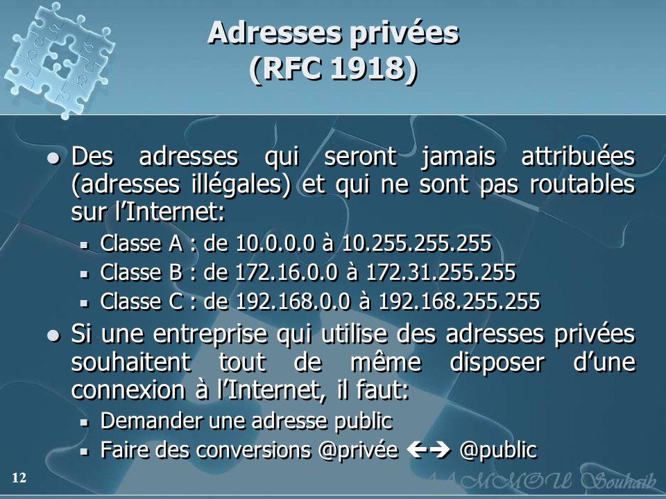 12 Adresses privées (RFC 1918) Des adresses qui seront jamais attribuées (adresses illégales) et qui ne sont pas routables sur lInternet: Classe A : d