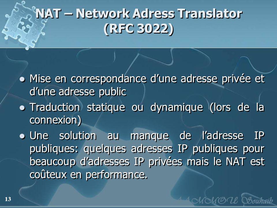 13 NAT – Network Adress Translator (RFC 3022) Mise en correspondance dune adresse privée et dune adresse public Traduction statique ou dynamique (lors