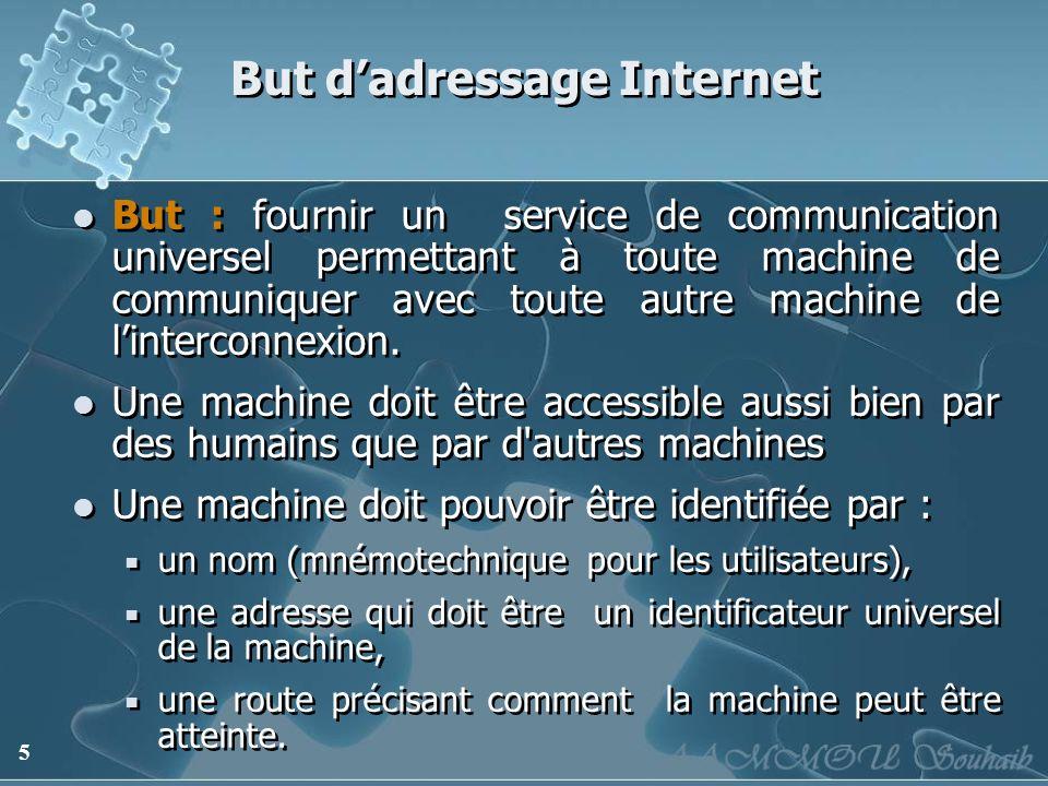 6 But dadressage Internet Solution : adressage binaire compact assurant un routage efficace Adressage à plat par opposition à un adressage hiérarchisé permettant la mise en oeuvre de l interconnexion d égal à égal.