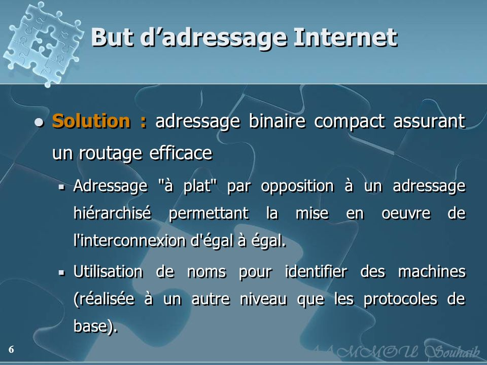 6 But dadressage Internet Solution : adressage binaire compact assurant un routage efficace Adressage