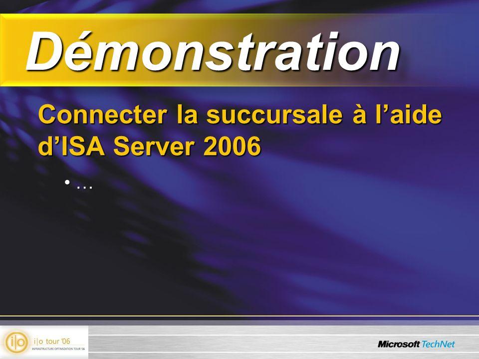 Démonstration Démonstration Connecter la succursale à laide dISA Server 2006 … …