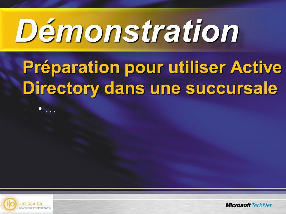Démonstration Démonstration Préparation pour utiliser Active Directory dans une succursale … …