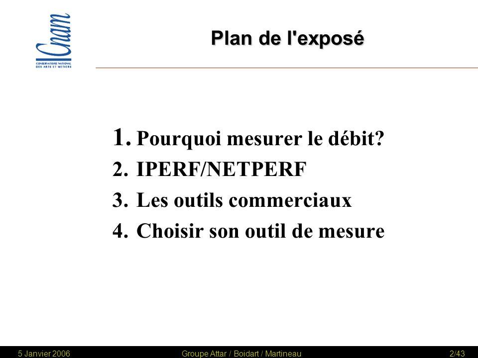 5 Janvier 2006Groupe Attar / Boidart / Martineau43/43 Conclusions Le choix dun outil est dépendant : –Des besoins –Des objectifs de la mesure –Du périmètre –De la couverture fonctionnelle –Du paramétrage et du déploiement –Des délais et des coûts 1.Pourquoi mesurer le Débit.