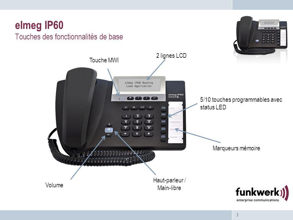 3 elmeg IP60 Touches des fonctionnalités de base 2 lignes LCD 5/10 touches programmables avec status LED Touche MWI Haut-parleur / Main-libre Volume Marqueurs mémoire