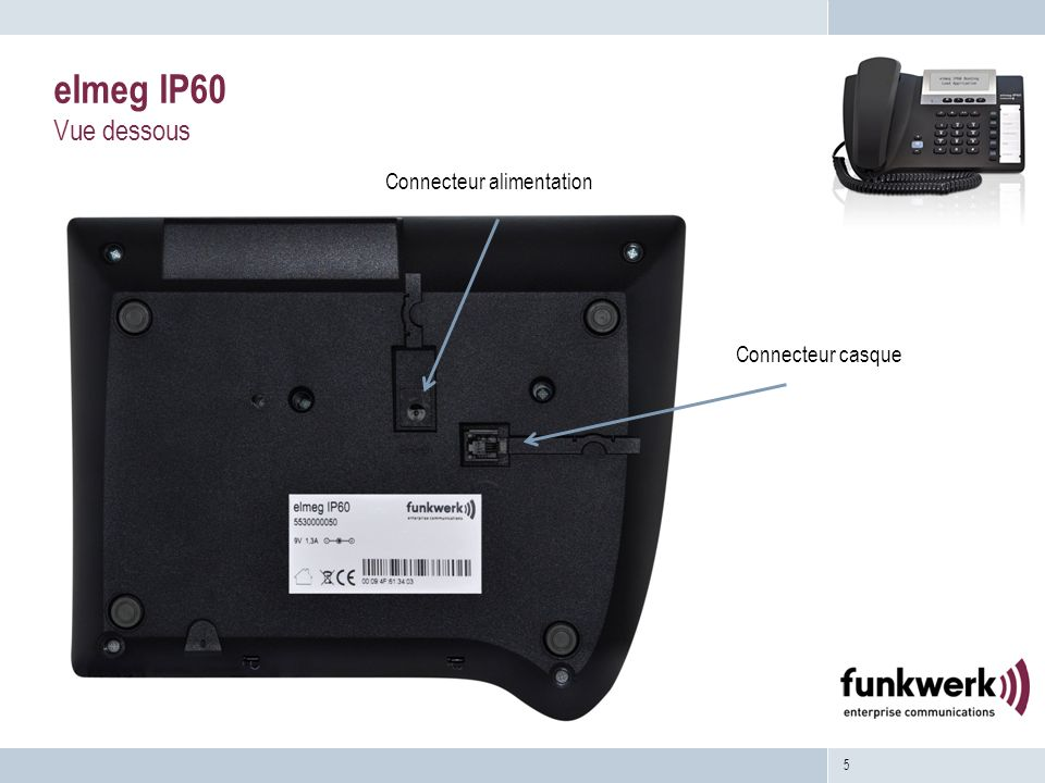 5 elmeg IP60 Vue dessous Connecteur alimentation Connecteur casque