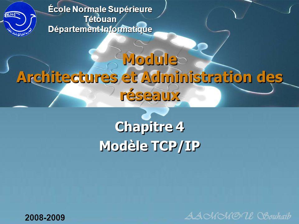 Module Architectures et Administration des réseaux Chapitre 4 Modèle TCP/IP Chapitre 4 Modèle TCP/IP École Normale Supérieure Tétouan Département Info