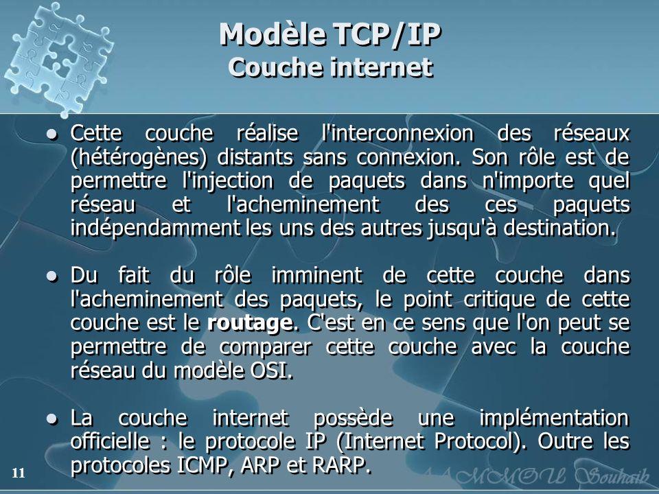 11 Modèle TCP/IP Couche internet Cette couche réalise l'interconnexion des réseaux (hétérogènes) distants sans connexion. Son rôle est de permettre l'