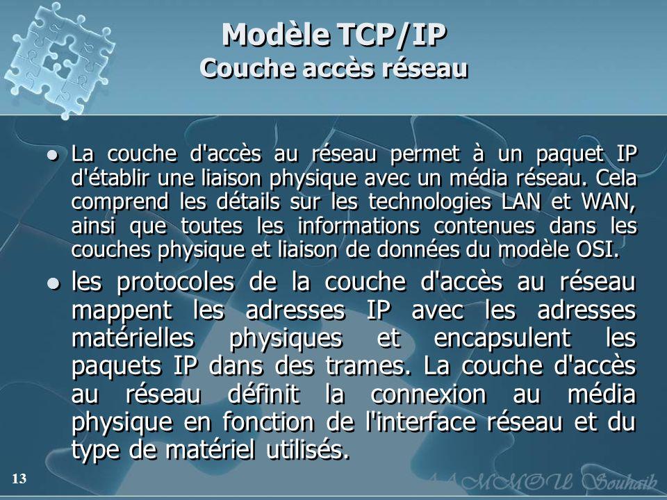 13 Modèle TCP/IP Couche accès réseau La couche d'accès au réseau permet à un paquet IP d'établir une liaison physique avec un média réseau. Cela compr
