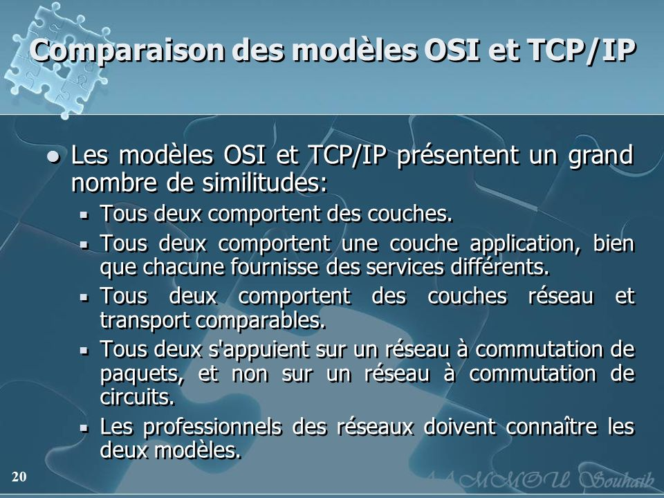20 Comparaison des modèles OSI et TCP/IP Les modèles OSI et TCP/IP présentent un grand nombre de similitudes: Tous deux comportent des couches. Tous d