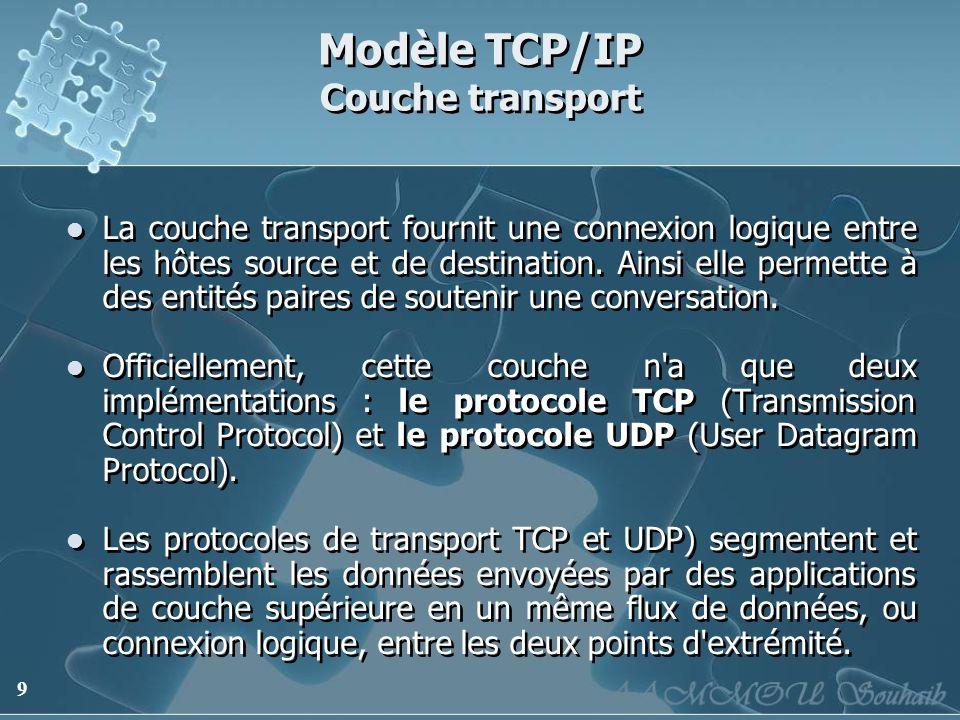 9 Modèle TCP/IP Couche transport La couche transport fournit une connexion logique entre les hôtes source et de destination. Ainsi elle permette à des