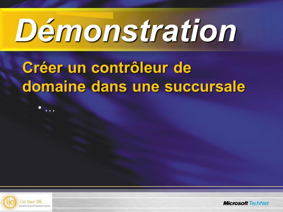 Démonstration Démonstration Créer un contrôleur de domaine dans une succursale … …