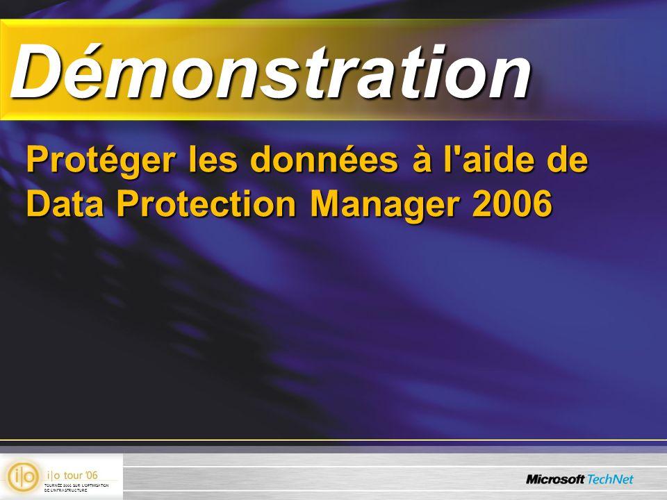 DémonstrationDémonstration Protéger les données à l'aide de Data Protection Manager 2006 TOURNÉE 2006 SUR LOPTIMISATION DE LINFRASTRUCTURE