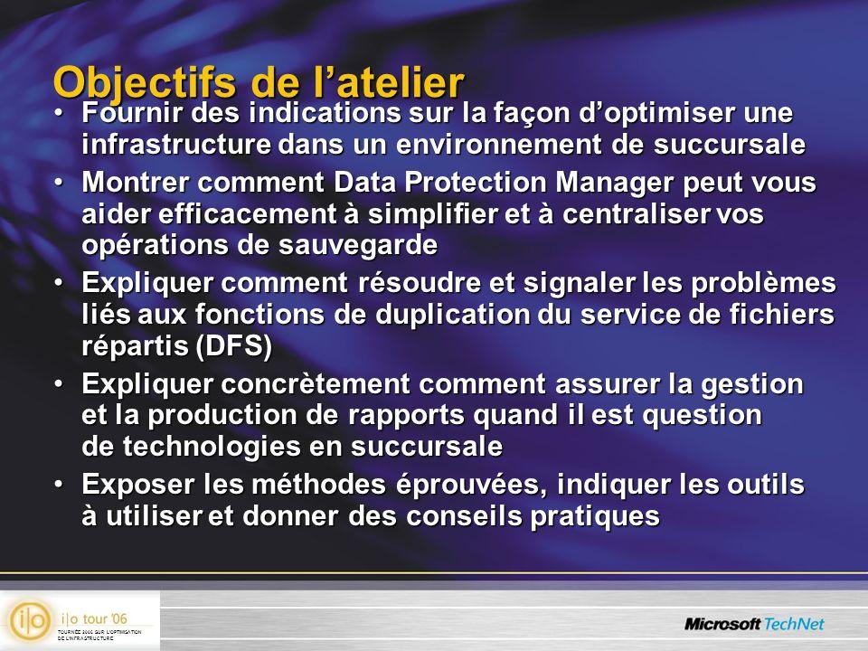 Objectifs de latelier Fournir des indications sur la façon doptimiser une infrastructure dans un environnement de succursaleFournir des indications su