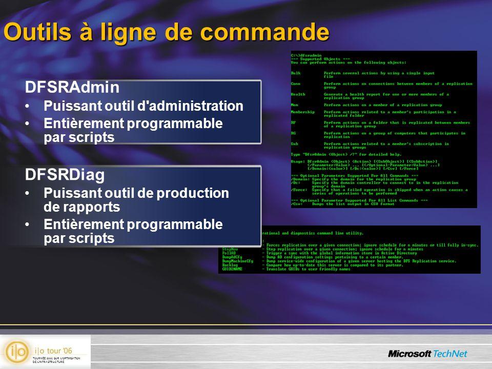 Outils à ligne de commande DFSRAdmin Puissant outil d'administration Entièrement programmable par scripts DFSRDiag Puissant outil de production de rap