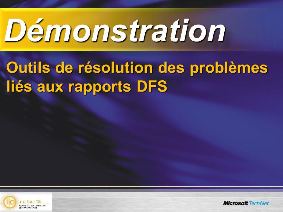 DémonstrationDémonstration Outils de résolution des problèmes liés aux rapports DFS TOURNÉE 2006 SUR LOPTIMISATION DE LINFRASTRUCTURE