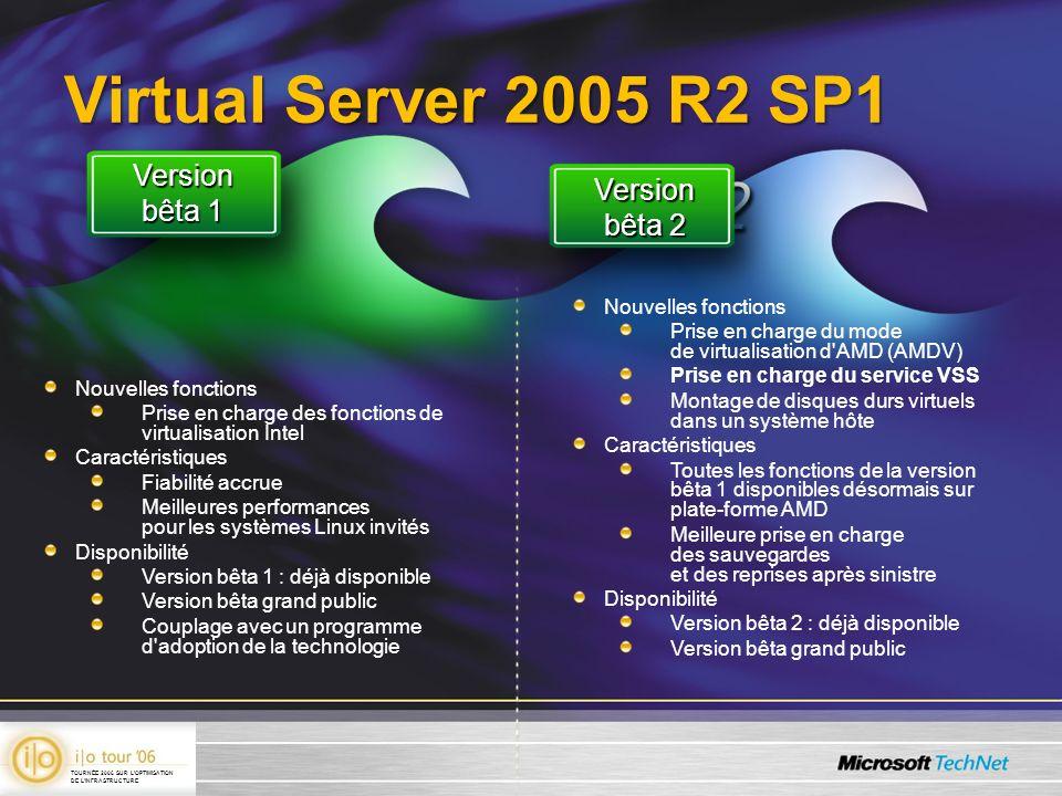 Virtual Server 2005 R2 SP1 Nouvelles fonctions Prise en charge des fonctions de virtualisation Intel Caractéristiques Fiabilité accrue Meilleures perf