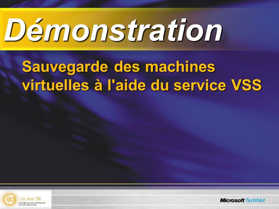 DémonstrationDémonstration Sauvegarde des machines virtuelles à l'aide du service VSS TOURNÉE 2006 SUR LOPTIMISATION DE LINFRASTRUCTURE