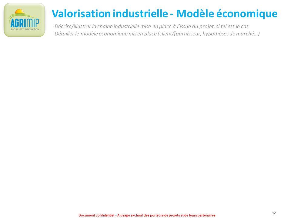 Document confidentiel – A usage exclusif des porteurs de projets et de leurs partenaires 12 Valorisation industrielle - Modèle économique Décrire/illu