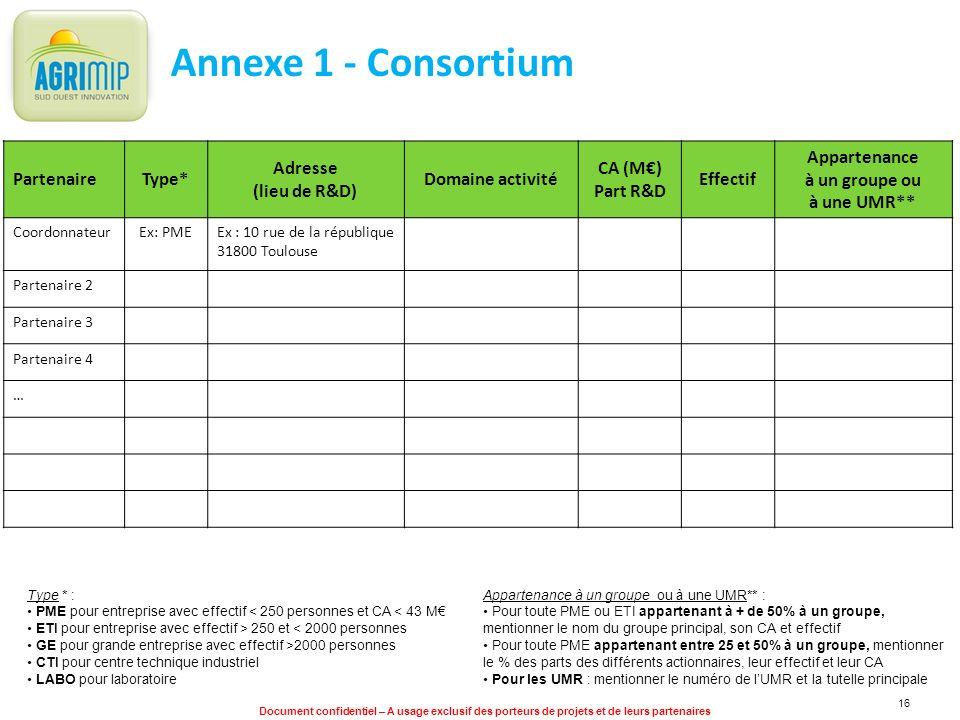 Document confidentiel – A usage exclusif des porteurs de projets et de leurs partenaires 16 Annexe 1 - Consortium PartenaireType* Adresse (lieu de R&D