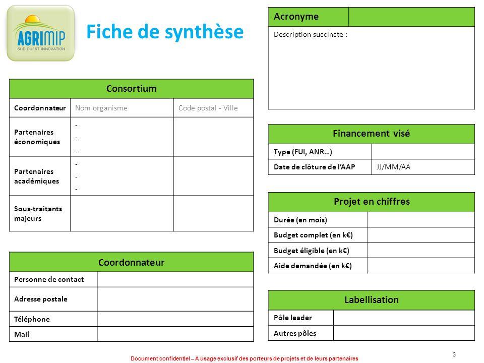 Document confidentiel – A usage exclusif des porteurs de projets et de leurs partenaires 3 Fiche de synthèse Acronyme Description succincte : Consorti