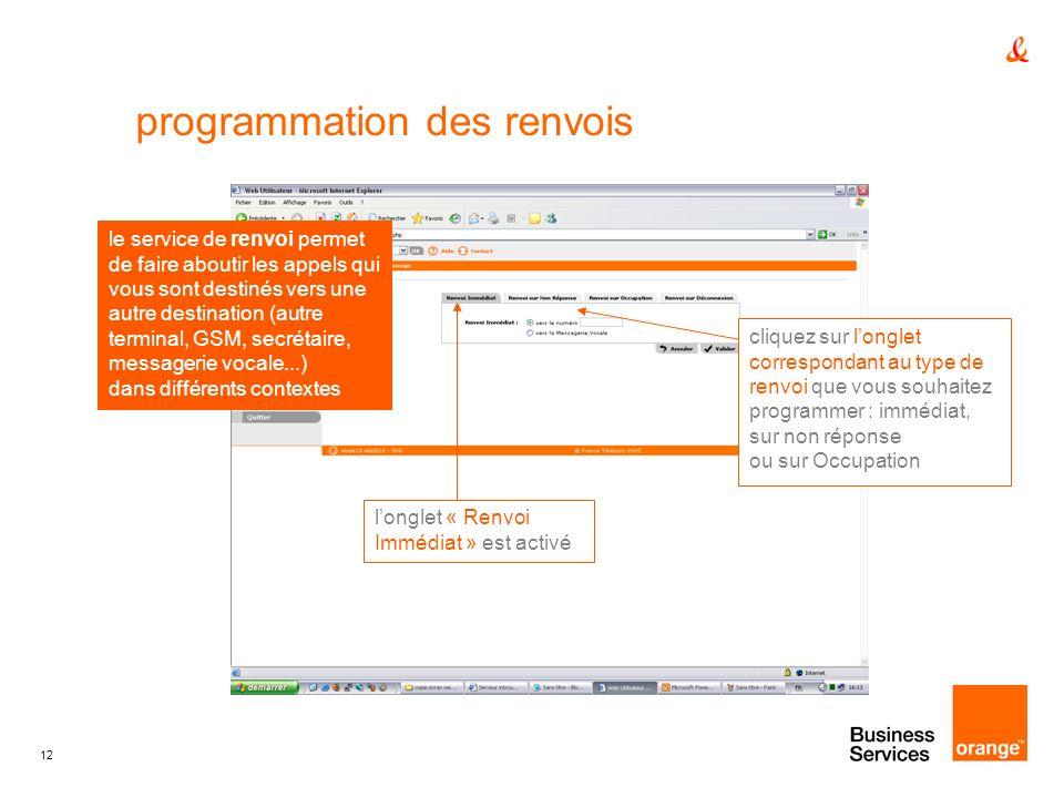 12 programmation des renvois cliquez sur longlet correspondant au type de renvoi que vous souhaitez programmer : immédiat, sur non réponse ou sur Occu