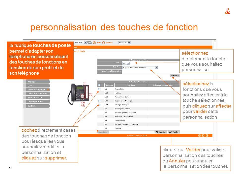 31 personnalisation des touches de fonction la rubrique touches de poste permet dadapter son téléphone en personnalisant des touches de fonctions en f