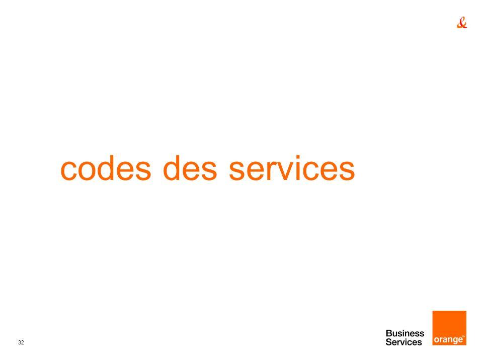 32 codes des services