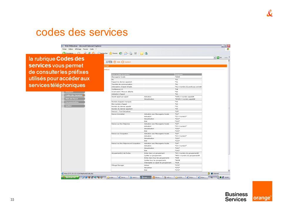 33 codes des services la rubrique Codes des services vous permet de consulter les préfixes utilisés pour accéder aux services téléphoniques