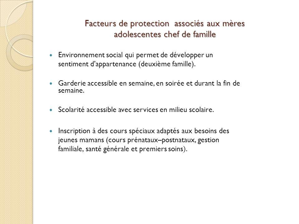Facteurs de protection associés aux mères adolescentes chef de famille Environnement social qui permet de développer un sentiment dappartenance (deuxième famille).