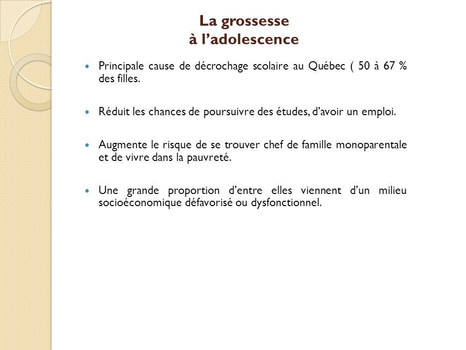 La grossesse à ladolescence Principale cause de décrochage scolaire au Québec ( 50 à 67 % des filles.
