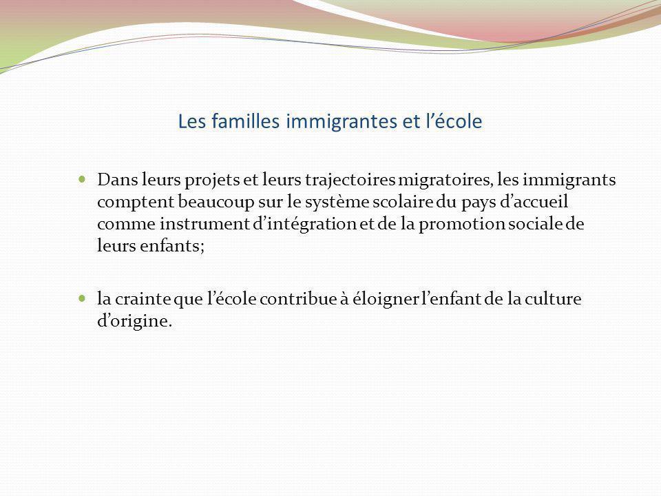Les familles immigrantes et lécole Dans leurs projets et leurs trajectoires migratoires, les immigrants comptent beaucoup sur le système scolaire du p