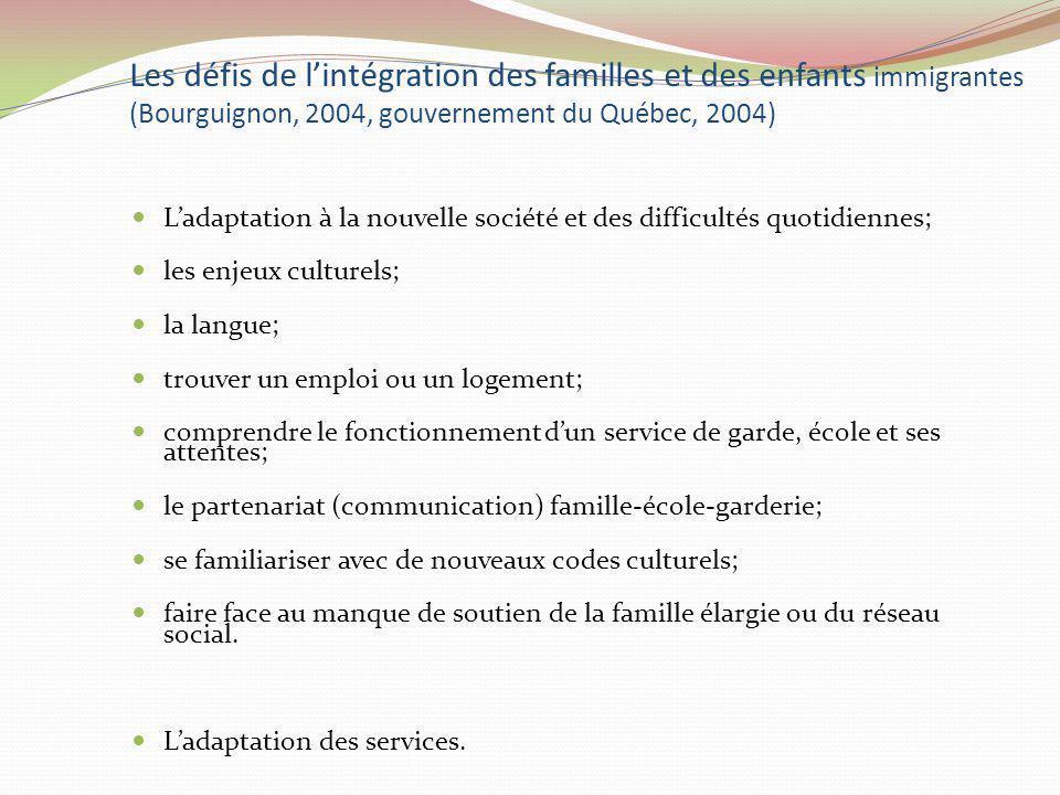 Les défis de lintégration des familles et des enfants immigrantes (Bourguignon, 2004, gouvernement du Québec, 2004) Ladaptation à la nouvelle société