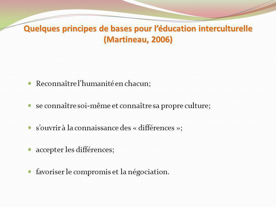 Quelques principes de bases pour léducation interculturelle (Martineau, 2006) Reconnaître lhumanité en chacun; se connaître soi-même et connaître sa p