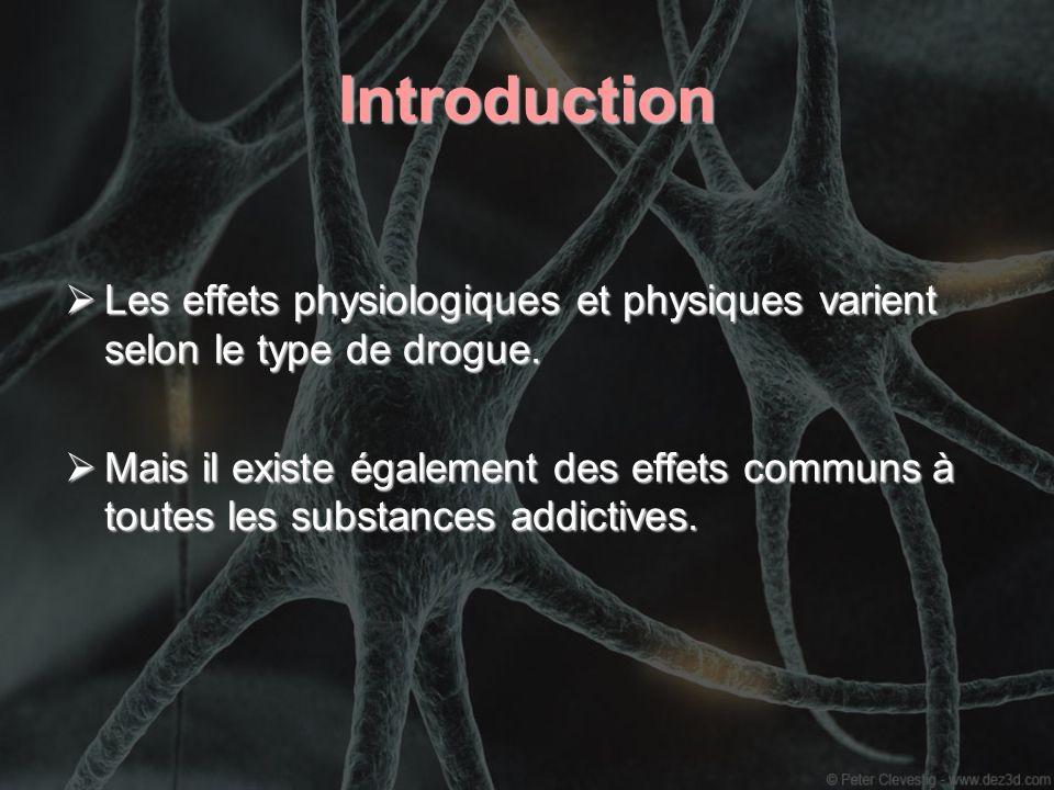 Introduction Les effets physiologiques et physiques varient selon le type de drogue. Les effets physiologiques et physiques varient selon le type de d