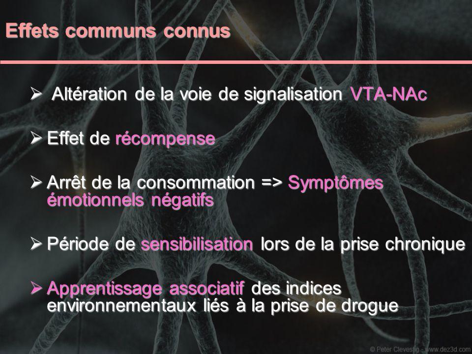 Effets communs connus Altération de la voie de signalisation VTA-NAc Altération de la voie de signalisation VTA-NAc Effet de récompense Effet de récom