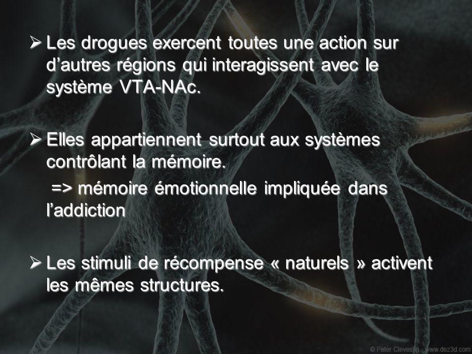 Les drogues exercent toutes une action sur dautres régions qui interagissent avec le système VTA-NAc. Les drogues exercent toutes une action sur dautr